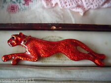 LARGE VINTAGE RED PANTHER WITH CRYSTAL RHINESTONE COLLAR GOLD BROOCH PIN