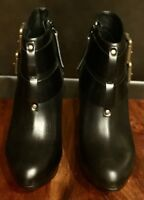 NEW WOMEN DIESEL BLACK LEATHER BUCKLE BELTED ANKLE BOOTS HEELS SIZE 7.5  8.5