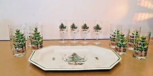 "Nikko, Happy Holidays, Party Set, 16"" Platter, 4 Wine Glasses, 8 Highball Glasse"