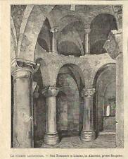 Stampa antica ALMENNO SAN BARTOLOMEO Rotonda Tomè Bergamo 1895 Old antique print