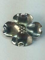 Vintage Oxidized Sterling Silver 925 Petite Flower Dotted Pin Brooch
