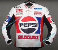 PEPSI SUZUKI MOTOGP MOTORBIKE MOTORCYCLE COWHIDE LEATHER BIKERS RACING JACKET