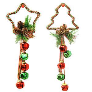 Christmas Set of 2 Tree / Star Door Hanger Decorations with Bells Green / Red