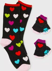 Black Heart Print Matching Pet & Owner Socks Set New In Pack