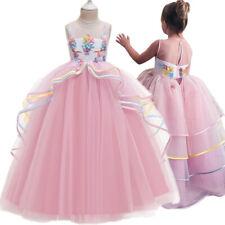Unicorn Dress for Girl Flower Costume Kids Birthday Children Wedding Prom Gown