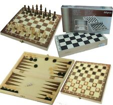 Backgammon Schach Dame inkl. Spielfiguren Holz Spielbrett Neu OVP