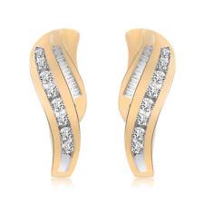 0.50 Carat Round & Baguette Cut Diamond Huggy Earrings 14K Yellow Gold