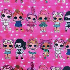 OFFCUT PINK LOL SURPRISE DOLL DAWN SHOWBABY POLYCOTTON  FABRIC GIRLS CHARACTER