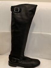 VERA GOMMA BLACK RIDDING OVER KNEE LEATHER BOOTS ZIPPER SIDE BUCKLE ITALY SZ 41