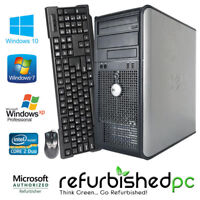 Super Fast Dell Tower Computer Core2Duo 2.8-3.3 GHz, SSD, Windows 10/7/XP, KB,MS