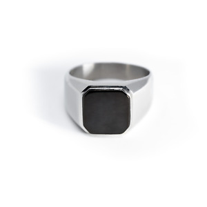 Stainless Steel Silver Gold Black Square Biker Style Signet Ring FREE ENGRAVE