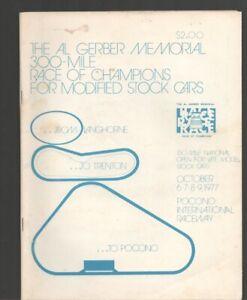 Pocono International Raceway Auto Race Program 10/9/1977-Gerber Memorial Modi...