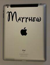 iPad Personalised Custom Name Tablet Black Vinyl Sticker Decal x 2(#006)