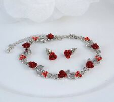 SILVER TONE RED METAL ROSE AND  CRYSTAL BRACELET & STUD EARRINGS SET