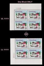 US 2400 Holiday Sleigh and Village 25c plate block MNH 1988