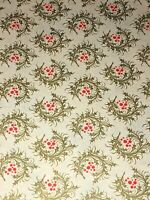 VTG CHRISTMAS WRAPPING PAPER GIFT WRAP 2 YARDS HOLLY LAUREL WREATH GOLD & RED