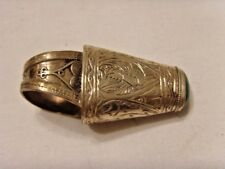 antique Turkmen 850 silver 2 inch tall minaret turquoise ring 8 size sca 46497
