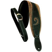 """LM Products 3"""" Leather Bass Clef Padded Guitar Strap Black"""