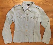 BEBE Button Down Light Blue Corduroy Blazer Casual Jacket Coat Size M Medium EUC