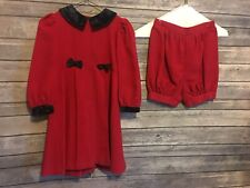 Vintage Girls Toddler Dress With Bloomer Shorts Plum Pudding LTD Size 4T Red