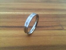 STAINLESS STEEL & 6 DIAMONDS DESIGNER RING THIN BAND SIZE 6.5