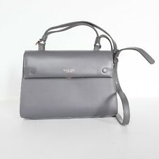Radley London Gray Leather Flapover Crossbody Handbag with Rose Gold Accents