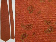 HICKEY FREEMAN PAISLEY BURNT ORANGE BROWN GREEN JACQUARD SILK NECK TIE NECKTIE