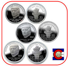 2016, 2017, 2020 Trump Silver Liberty Dollars Norfed Rounds BU Proof-like