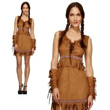 Pocahontas Costume Womens Ladies Red Indian Squaw Western Fancy Dress UK 8-18
