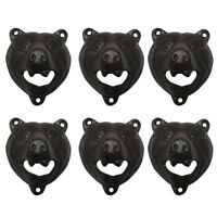 LOT 6 x Bear Cast Iron Wall Mount Bottle Teeth Opener Rustic Home Cabin Decor