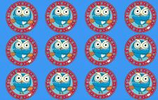 Giggle and Hoot cupcake toppers 5cm x 12 REAL FONDANT