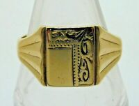 Vintage 9 Carat Yellow Gold Signet Ring Decorative Engraving 3.8g 1979 Size T