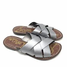 41ede416d41f New ListingSam Edelman Shoes Size 8 Womens Gaile Silver Flat Slides Sandals  Woven