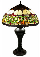 """Tiffany Style Stained Glass 18"""" Wide Table Lamp """"Baroque"""" - FREE SHIP IN USA"""