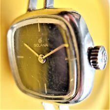 hübsche GOLANA DAMEN ARMBANDUHR, Silber, 0,800, quadratisches Design, gute Funkt