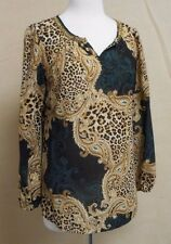 CHICO'S SZ 1 GOLD ANIMAL PRINT/ GREEN PAISLEY EMBELLISHED NECK LONG SLEEVE TOP M