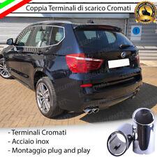 COPPIA TERMINALE SCARICO DOPPIO CROMATO LUCIDO ACCAIO INOX BMW X3 F25 TONDI