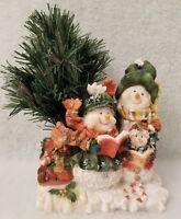 3 Snowman Red Green Fiber Optic Lighted Christmas Tree Winter Figurine