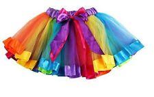 GIRLS RAINBOW TUTU SKIRT MULTICOLOURED PETTICOAT KID'S COSTUME BALLET DANCE