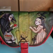 HOTTER RED LEATHER SHOULDER HAND PAINTED HANDBAG GOTHIC SNOW WHITE CROSSBODY