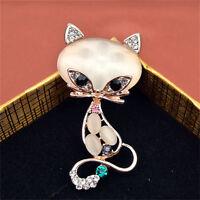 Broches de zorro piedra ópalo de oro Mujeres Moda Lindo Animal Pin Broche JoyQA
