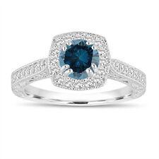 Enhanced Fancy Blue Diamond Engagement Ring 1.16 Ct 14K White Gold Vintage Style