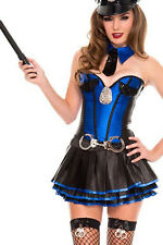 Blue Police Officer Cop Corset Tutu Roleplay Costume Halloween Dress Small 8720