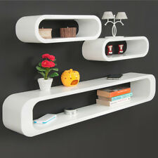 Set of 3 Wall Shelves Cube Retro Stackable MDF High Polish Coloured White