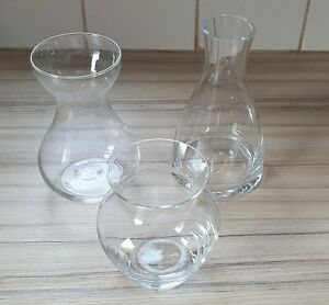 Set of 3 Small Clear Glass Different shaped Flower-Bulb Vases Ideal Table Decor.