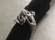 Heavy Sterling silver hand carved Nude Mermaid lady woman ring beach jewelry 7
