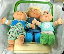 Vintage 1983 Coleco Cabbage Patch Kids Carrier Car Seat W/ 3 Dolls Big Sister FS