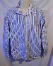 J. Crew Blue Gray & White Striped Button Front Dress Shirt Man's XL 17-17 1/2