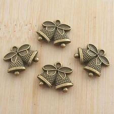 10pcs antique bronze couple bells design pendant G1064