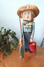 Fisherman / Boy With Fish On A Pole Hand Carved Wood Bucket Of Worms 21 In Tall